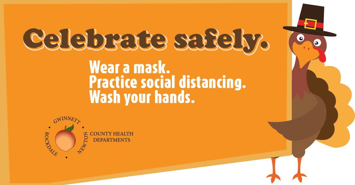 안전하게 축하하세요. 마스크를 쓰세요. 사회적 거리. 손을 씻다.