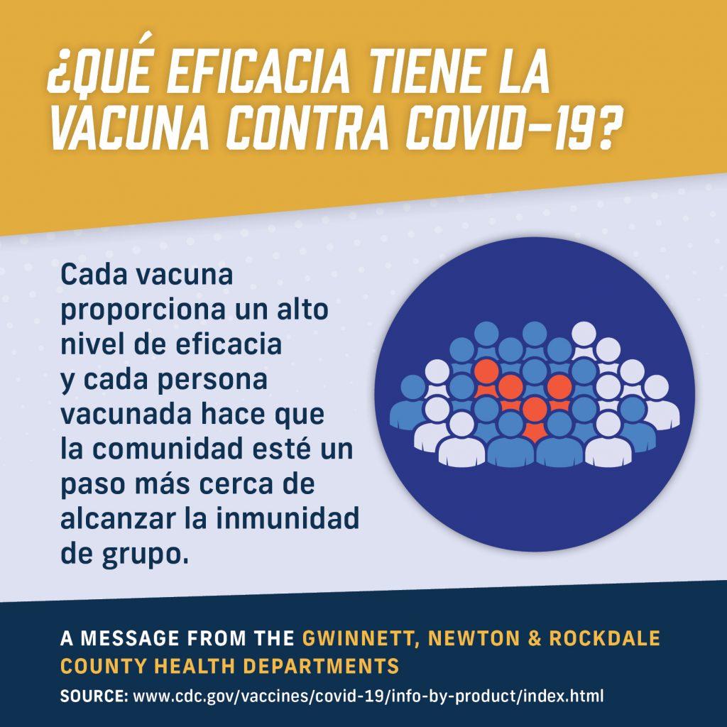 Cada vacuna proporciona un alto nivel de eficacia y cada persona vacunada hace que la comunidad esté un paso más cerca de alcanzar la inmunidad de grupo.