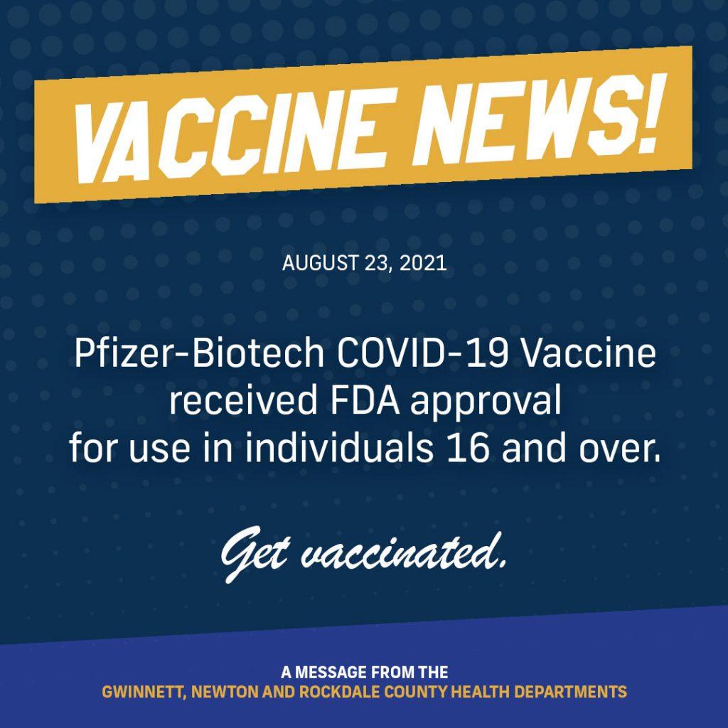 Pfizer-Biotech COVID-19 Vaccine은 16세 이상의 개인에게 사용하도록 FDA 승인을 받았습니다.